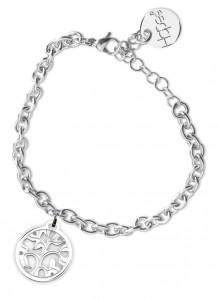 BR23 bracciale in acciaio con catena regolabile albero della vita dimensioni charm 2x2cm
