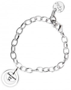 BR45 braccialetto acciaio catena regolabile il mio cuore per te dimensioni charm 2x2 cm