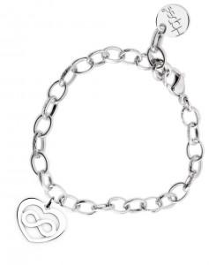 BR54 braccialetto acciaio catena regolabile cuore infinito dimensioni charm 2x2 cm
