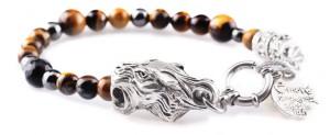 BREM10 braccialetto in pietre naturali occhio di tigre con terminalino tigre