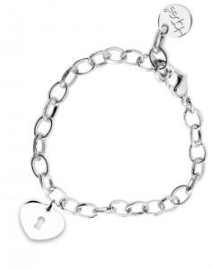 BR55 braccialetto acciaio catena regolabile cuoricino dimensioni charm 2x2 cm