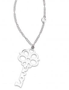CH 11 Collana in acciaio chiave love lunghezza 80 cm dimensioni charm 7,4x4 cm