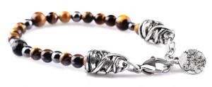 BREM11 braccialetto in pietre naturali occhio di tigre con terminalino cuore