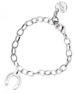 BR56 braccialetto acciaio catena regolabile ferro di cavallo dimensioni charm 2x2 cm