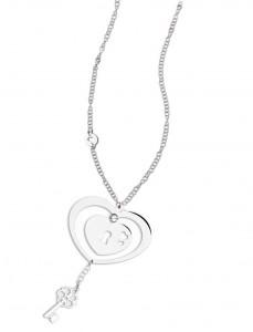 CH 12 Collana in acciaio doppio cuore lunghezza 80 cm dimensioni charm 5x4 cm