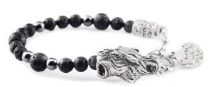 BREM12 braccialetto in pietre naturali lavica con terminalino tigre