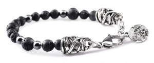 BREM13 braccialetto in pietre naturali lavica con terminalino cuore