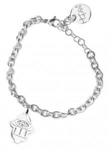 BR36 bracciale in acciaio con catena regolabile mano di fatima dimensioni charm 2x2cm
