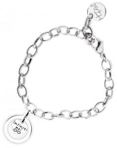 BR58 braccialetto acciaio catena regolabile infiniti noi dimensioni charm 2x2 cm
