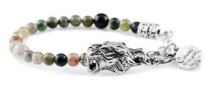 BREM14 braccialetto in pietre naturali agata indiana con terminalino tigre