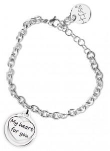 BR37 bracciale in acciaio con catena regolabile my heart for you dimensioni charm 2x2cm