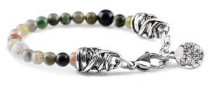 BREM15 braccialetto in pietre naturali agata indiana con terminalino cuore