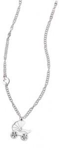 CH15 collana in acciaio girocollo carrozzina lunghezza 50 cm dimensioni charm 2x2cm
