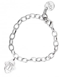 BR60 braccialetto acciaio catena regolabile mano di fatima dimensioni charm 2x2 cm