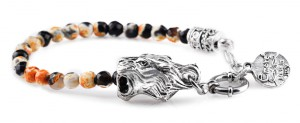 BREM316 braccialetto in pietre naturali mix color agata marrone con terminalino tigre