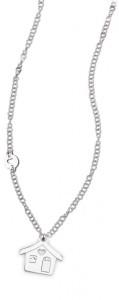CH16 collana in acciaio girocollo casetta lunghezza 50 cm dimensioni charm 2x2 cm