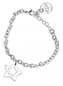 BR39 bracciale in acciaio con catena regolabile stellina dimensioni charm 2x2cm