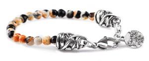 BREM17 braccialetto in pietre naturali mix color agata marrone con terminalino cuore