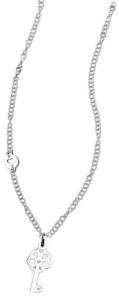CH17 collana in acciaio girocollo chiave lunghezza 50 cm dimensioni charm 3x1,3 cm