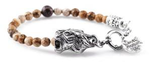 BREM18 braccialetto in pietre naturali pietra paesina con terminalino tigre