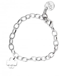 BR63 braccialetto acciaio catena regolabile quadrifoglio misura charm 2x2cm