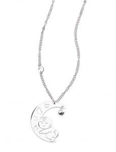 CH 01 Collana chiama angeli in acciaio lunghezza 80 cm charm 6x6 cm
