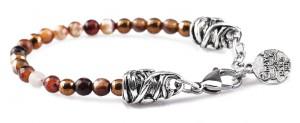 BREM1 braccialetto in pietre naturali agata marrone con terminalino cuore