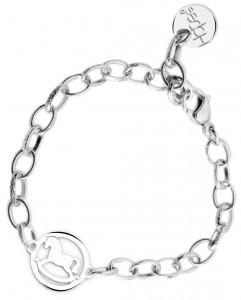 BR68 braccialetto acciaio catena regolabile cavallino misura charm 2x2cm