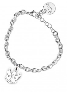 BR24 bracciale in acciaio con catena regolabile angioletto dimensioni charm 2x2cm