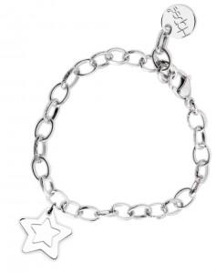 BR64 braccialetto acciaio catena regolabile stellina misura charm 2x2cm