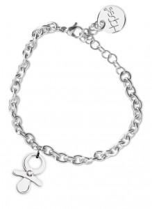 BR42 bracciale in acciaio con catena regolabile ciuccio dimensioni charm 2x2cm