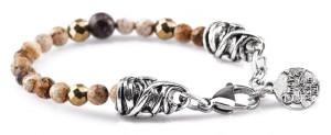 BREM20 braccialetto in pietre naturali pietra paesina con terminalino cuore