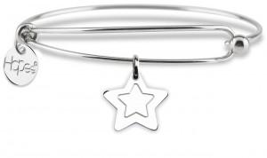 BR21 bracciale rigido in acciaio stella dimensione charm 2x2