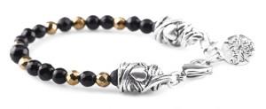 BREM21 braccialetto in pietre naturali mix onice nero sfaccettata ematite oro con terminalino cuore
