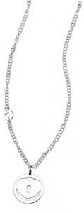 CH21 collana in acciaio girocollo cuore tondo lunghezza 50 cm dimensioni charm 2x2cm