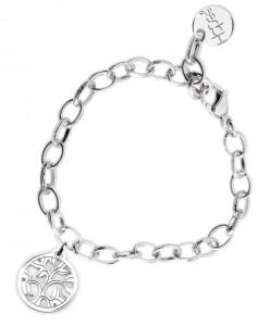 BR66 braccialetto acciaio catena regolabile albero della vita misura charm 2x2cm