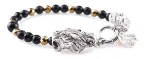 BREM22 braccialetto in pietre naturali mix onice nero sfaccettata ematite oro con terminalino tigre