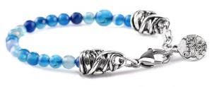 BREM23 braccialetto in pietre naturali agata blu con terminalino cuore