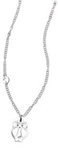 CH23 collana in acciaio girocollo gufetto lunghezza 50 cm dimensioni charm 2x2cm