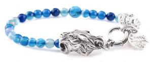 BREM24 braccialetto in pietre naturali agata blu con terminalino tigre