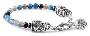 BREM26 braccialetto in pietre naturali mix color agata blu con terminalino cuore