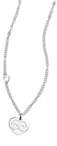 CH26 collana in acciaio girocollo cuore infinito lunghezza 50 cm dimensioni charm 2x1,5 cm