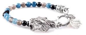BREM26 braccialetto in pietre naturali mix color agata blu con terminalino tigre
