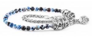 BREM28 braccialetto in pietre naturali mix color agata blu e nera con terminalino cuore