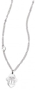 CH28 collana in acciaio girocollo mano di fatima lunghezza 50 cm dimensioni charm 2x2 cm