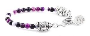 BREM29 braccialetto in pietre naturali agata viola con terminalino cuore