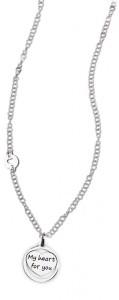CH29 collana in acciaio girocollo my heart for you lunghezza 50 cm dimensioni charm 2x2 cm