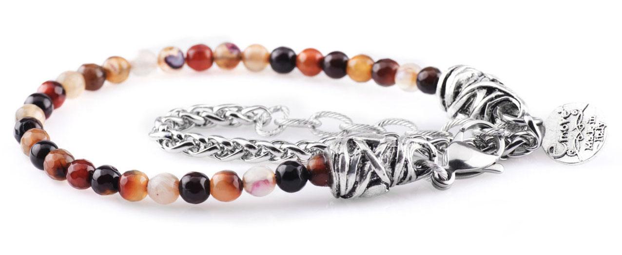 BREM2 braccialetto in pietre naturali mix color con terminalino cuore