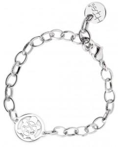 BR69 braccialetto acciaio catena regolabile tartarughina  misura charm 2x2cm