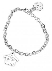 BR25 bracciale in acciaio con catena regolabile casetta dimensioni charm 2x2cm